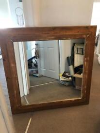 Handmade mirror with wooden frame