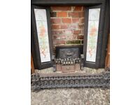 Victorian Style Cast Iron Fireplace with Oak Surround