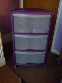 Pinky purple Plastic Storage Drawers