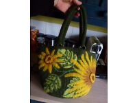 Quirky large nuno felted sunflower bag