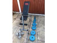 Bench & 80kg Cast Iron Weights set dumbbells Barbell