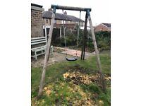 Kids Wooden Wood Swing - Garden