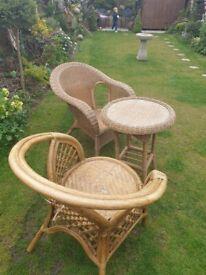 Wicker garden bistro table 2 chairs