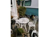 Gorgeous Cast Iron white patio table and chairs