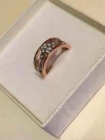 Rose gold coloured fashion ring - New
