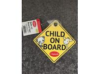 Unused baby/child on board car sign
