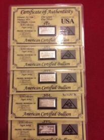 5 x 1 gram silver bullion bar with COA