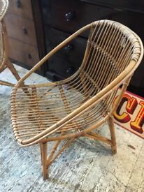 RATTAN CANE BAMBOO CHAIRS 1970S ORIGINALS PAIR