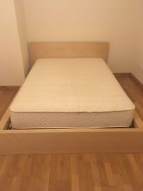 "Light coloured Ikea ""Malm"" double bed frame. Great condition."