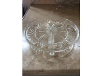 """Glass cake display stand. Good solid style. Approx 9"""" diameter"""