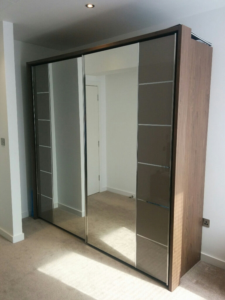 Bensons Mirabel Large 240cm W Wardrobe With Glass And
