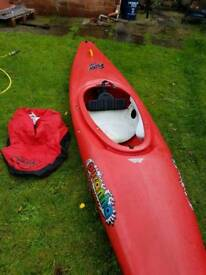 Pyranha Kayak with spray deck, 3 Adult Life jackets and paddle