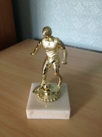 Gold Football Trophy on Marble Base