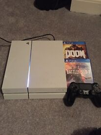500gb PS4 with games, controller, and wires.