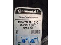 2 x Brand New continental vanco four season tyres 195/70 R 15 C still in wrapping
