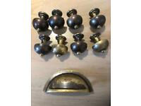 Fired Earth antique brass door and drawer handles