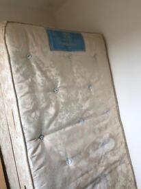 Sealy Single bed mattress, base, head board and full bedding and mattress topper