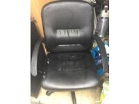 Black leather chair for office or home