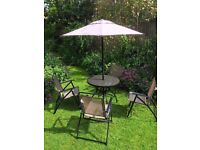 6 Pieces Garden Furniture / Patio Table, chairs and Parasol