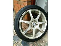 4 x 17 Inch 7j 4x100 Konig Tantrum almost new tyres.