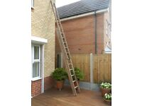 3 Section Wooden Extension Ladders each 10 feet long (extended length approx 27 feet).