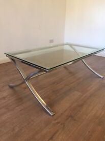 Glass & stainless steel coffee table with matching side/ lamp table