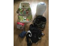 Baby items: baby bouncer / carrier / sling / safety box