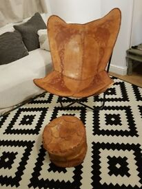 Leather chair, hand made in Sri Lanka. With foot stool.