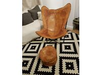 Unique leather chair, hand made in Sri Lanka. With foot stool.
