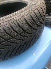 2 Goodyear winter tyres with 5mm tread left size is 195 55 16 .