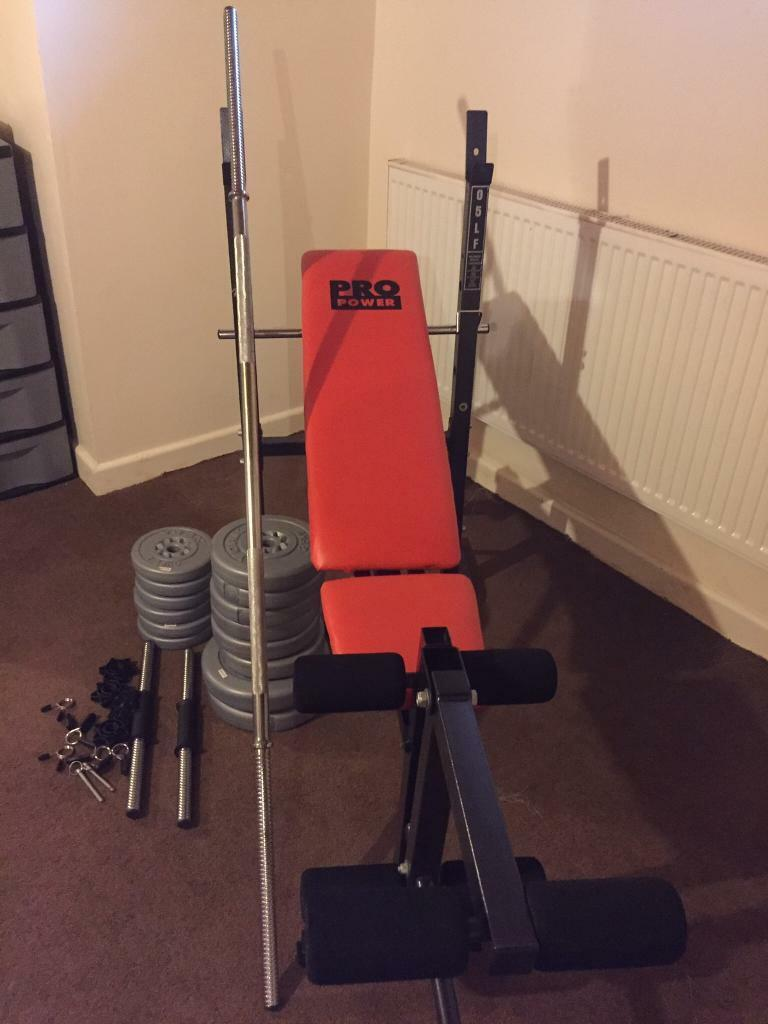 Training bench and weights for sale