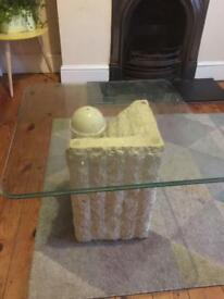 Glass and stone artistic coffee table