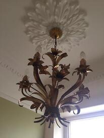 2 matching antique brass chandeliers