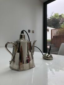 Quirky Vintage Silver Tea Pot light fitting