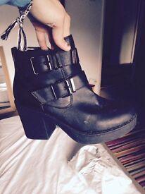 black boots, size 5