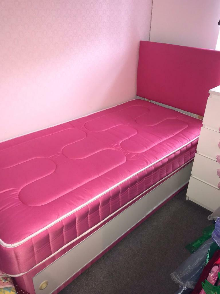 Brand New Pink Single Bed With Mattress And Sliding Storage E Headboard