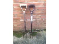 TWO LADIES OR BORDER GARDEN FORKS £5 EACH