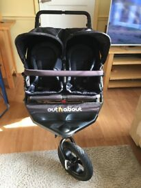 Out n About V4 double pushchair - Raven Black
