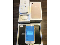 Apple iPhone 7 256GB Unlocked White/Gold with Genuine Apple Real Leather Case Excellent Condition