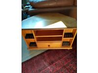 Oak Corner TV Unit with Drawer