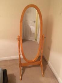 Pine Freestanding Tilting Oval Mirror