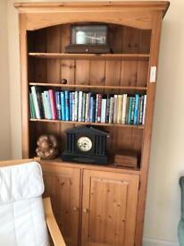 Handmade pine bookshelves with cupboard