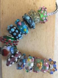Murano beads to fit European bracelet unique