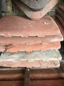 Antique red redland clay roof tiles: 4 tiles, each one measures 24cm by 27cm