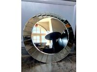 Glass art deco style large mirror