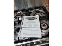 Britannia Dual Fuel Range Cooker , 6 Burner Gas Hob and 2 Electric Multifunctional Ovens.