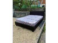 double brown leather bed with mattress😴😴😴