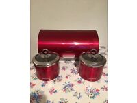 Morphy Richards matching red bread bin and storage tins x 2