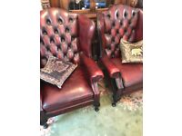 Pair of Burgundy leather Chairs