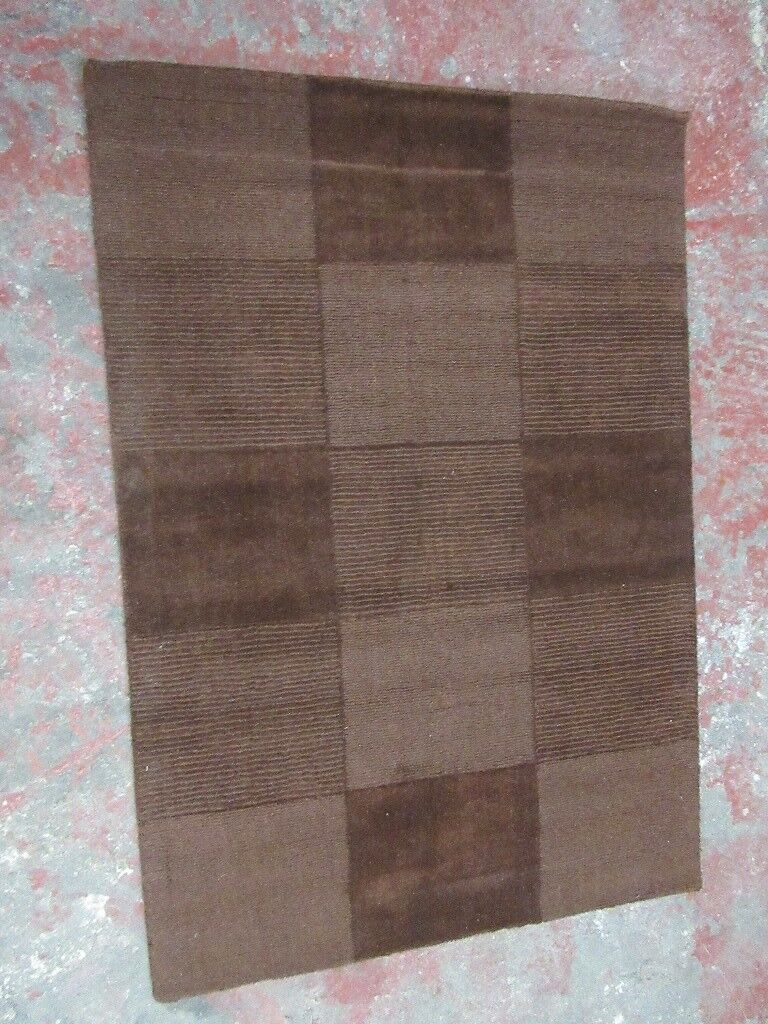 Flair Wool Squares Rug Colour Chocolate Size 110 X 160 Cm Only 30 Wow